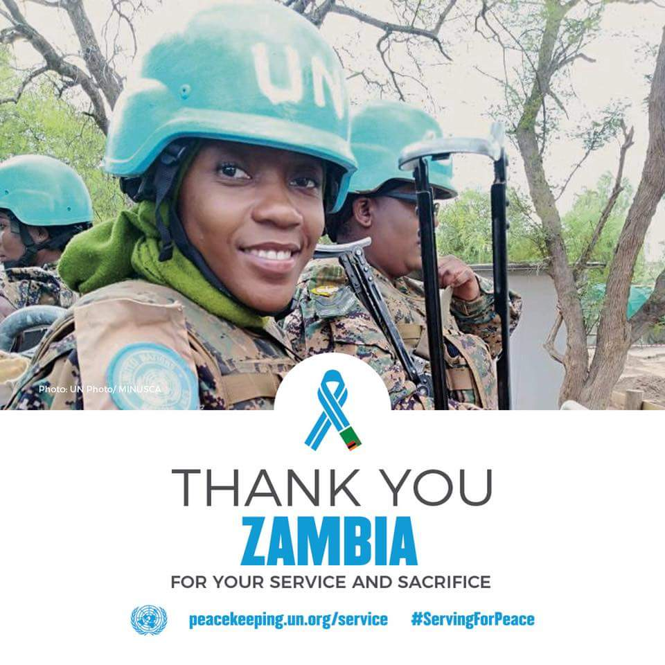 United Nations ranked Zambia as one of the shining troop contributing countries