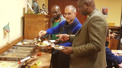 Catholic priests enjoy Zambian delicacie