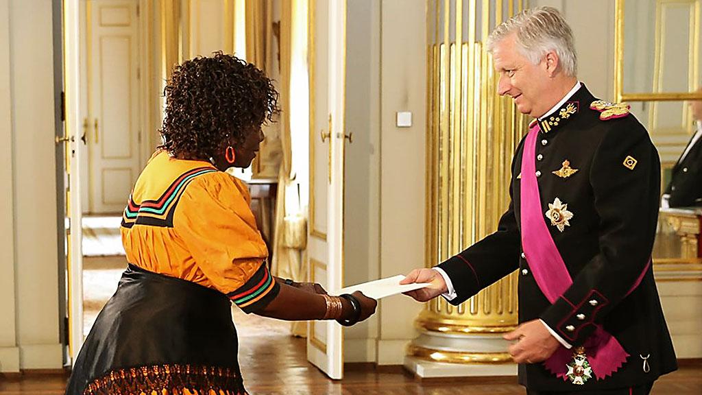 AMBASSADOR MUNALULA NKANDU PRESENTS HER CREDENTIALS TO BELGIAN KING