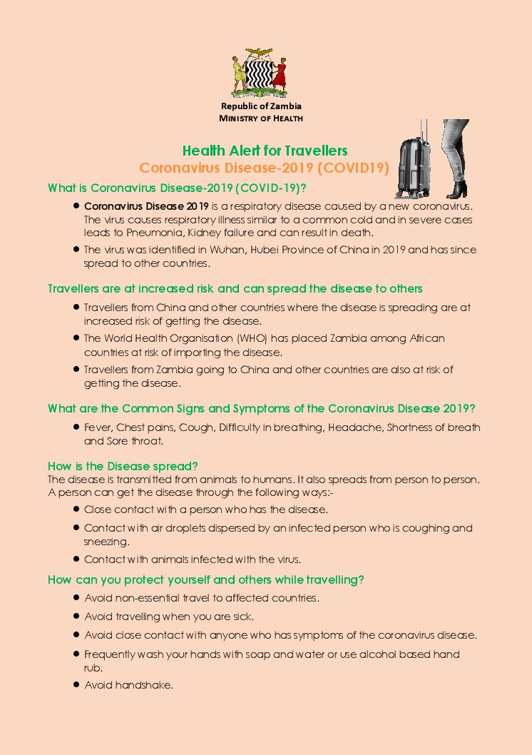 Health Alert for Travellers :  Coronavirus Disease-2019 (COVID19)